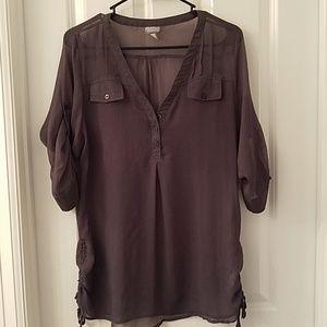 Pewter chiffon blouse
